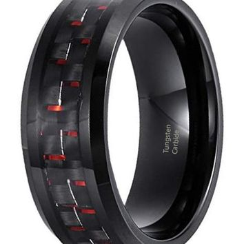 CERTIFIED 8mm Tungsten Weeding Band Black and Red Carbon Fiber Inlay Promise Rings