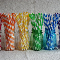 Reusable Straws BPA Free Eco Friendly Striped Blue Green 1 For DIY Make Your Own Mason Jar Cup,Tumblers