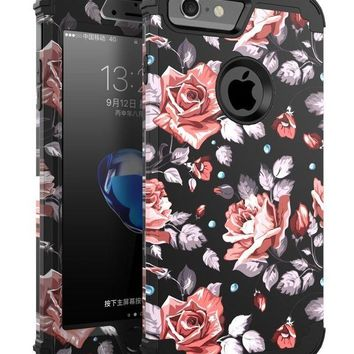 DCCKRQ5 OBBCase 6 case rose iPhone 6 Case, for iPhone 6s Case, Three Layer Heavy Duty Hybrid Sturdy Armor High Impact Resistant Protective Cover Case For iPhone 6/6s(Only For 4.7') - Rose Flower/Black