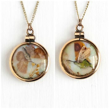 Antique Rosy Yellow Gold Filled Butterfly Wing & Moth Mother of Pearl Pendant Necklace - Vintage Double Sided Small Nature Jewelry Charm Fob