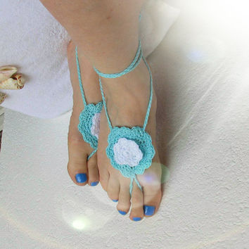 Ladies  Barefoot Sandals- Blue crochet barefoot sandals-Bridal Foot jewelry-Beach wedding barefoot sandals-Lace shoes-Beach wedding sandals
