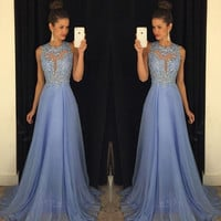 Royal Blue Prom Dress 2017 Best Selling O Neck Sleeveless A Line with Appliques Beaded Chiffon Customize Party Dresses