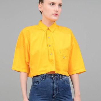80s Polo Crop Top Yellow Oversize Cropped Shirt Loose 1980s Collared T Shirt Vintage T