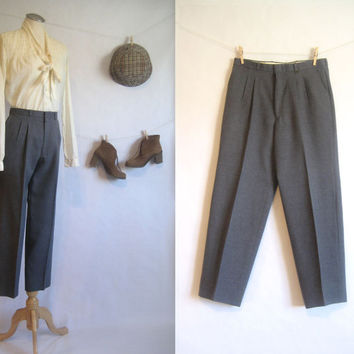 vintage 80s Pants / CACHAREL Grey Trousers / High Waist Dress Pants