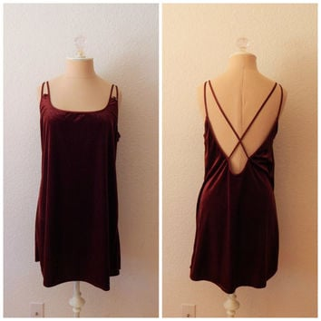 Vintage 90s Maroon Crushed Velvet Backless Nightgown Sexy Nightie Lingerie