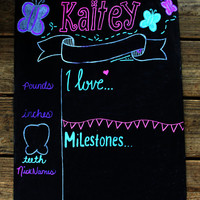 Monthly Baby Chalkboard, Monthly Baby Pictures, Watch Me Grow, Reusable Chalkboard, first year, baby month sign, milestones sign, favorites