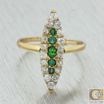 1880s Antique Victorian Estate 14k Yellow Gold Diamond Emerald Navette Ring