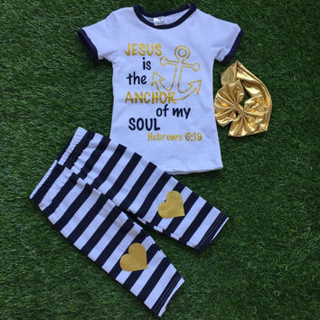 Jesus is the Anchor of my Soul  Black/White/Gold Boutique Outfit with headband