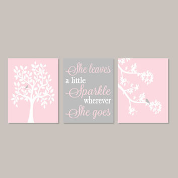 Pink Gray Nursery Tree Wall Art Baby Girl Decor Birdie On Branch She Leaves A Little Sparkle Set of 3 Prints Or Canvas Baby Shower Gift