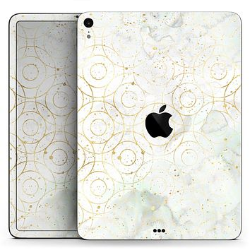 "Karamfila Watercolor & Gold V8 - Full Body Skin Decal for the Apple iPad Pro 12.9"", 11"", 10.5"", 9.7"", Air or Mini (All Models Available)"