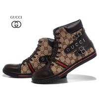 GUCCI Woman Men Fashion Casual High-Top Flats Shoes-3