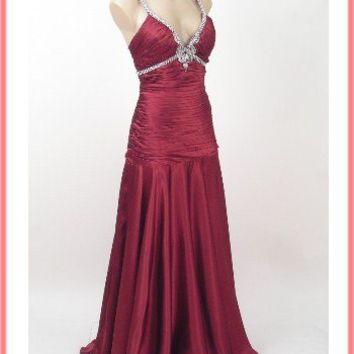 Vintage Inspired Garnet Red Satin Evening Gown-Elegant Prom Dress
