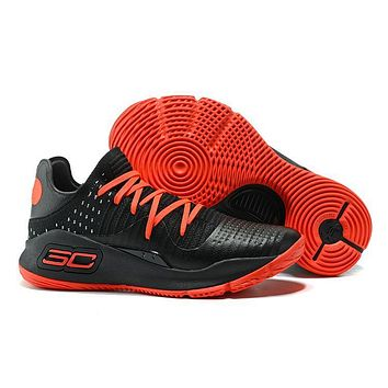 Under Armour Men's Sc30 Stephen Curry 4 Low Black/red Sport Sneaker | Best Deal Online