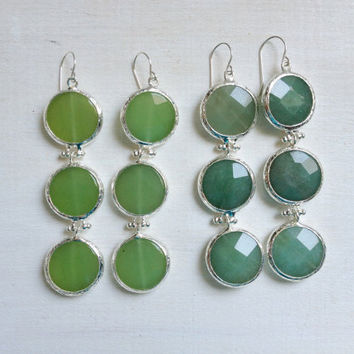 sea glass green gemstone fashion LARGE long bold  triple earrings mint green jade stone silver statment earrings israel