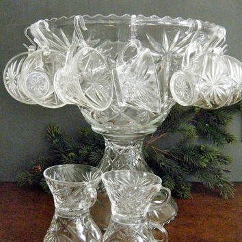 Early American Prescut Punch Bowl Set, Large Bowl on Pedestal and & 12 Cups, Hangers and New Ladle, Makes a Statement, 1960's Anchor Hocking