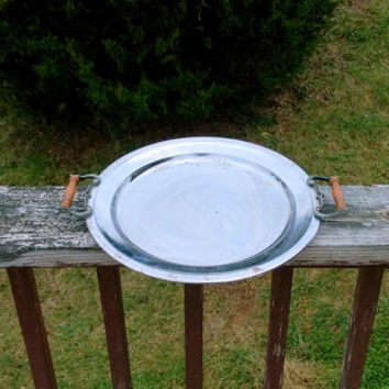 Metal tray Serving tray vintage tray reflective tray serving platter wooden handles rustic tray victorian tray decorative tray