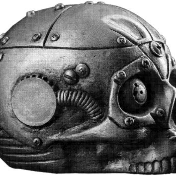 Skull with mechanisms style of Steam punk side view- Airbrush Stencil