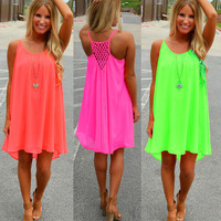 Neon chiffon Crochet Back Loose Dress