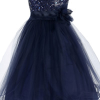 Navy Blue Sequin Dress w. Lettuce Hem Tulle Skirt Girls 2T-14 & Plus 14x-20x