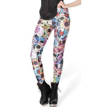Atomic Day of the Dead Colorful Skull Leggings