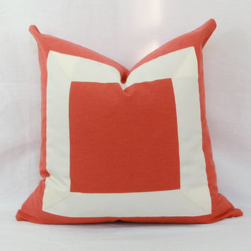 "Orange & creme ribbon border decorative throw pillow cover. 18"" x 18""  toss pillow. 18"" square accent pillow."