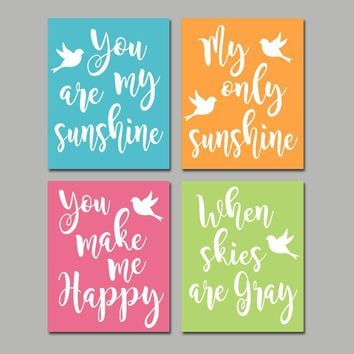 You Are My Sunshine Wall Art, Bird Theme Nursery Canvas or Prints Baby Girl Song Rhyme Quote Decor, Sunshine Bedroom Wall Decor, Set of 4