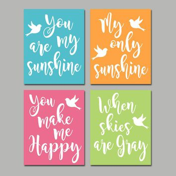 You Are My Sunshine Wall Art, Bird Theme Nursery, CANVAS or Prints, Baby Girl Song Rhyme Quote Decor, Sunshine Bedroom Pictures, Set of 4