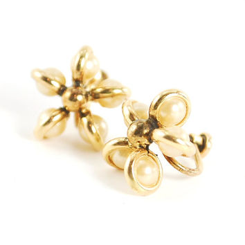 Antique Earrings, Art Deco Earrings, Pearl Earrings, Flower Earrings, 12k Gold Filled, Designer Signed WALTER LAMPL, 1930s Jewelry