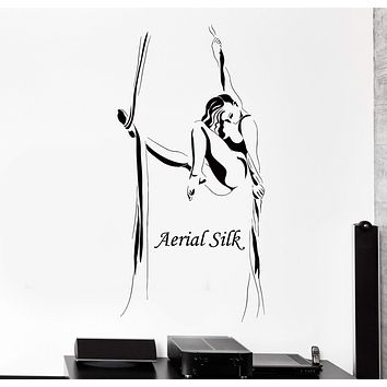 Wall Vinyl Decal Aerial Silk Ribbon Acrobatic Gymnastics Home Interior Decor Unique Gift z4209