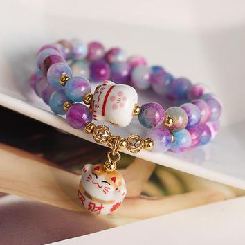 lady's women's silver jewelry Natural Stone Bracelet Pink Korea Fashion Natural Crystal Maneki Neko Charm Bracelet Multi-layer