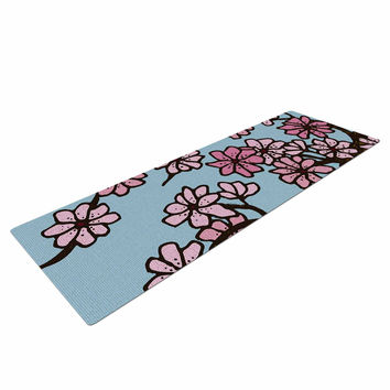 "Art Love Passion ""Cherry Blossom Day"" Floral Illustration Yoga Mat"