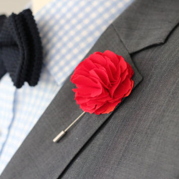 Red Linen Carnation lapel Flower, mens boutonniere, lapel pin