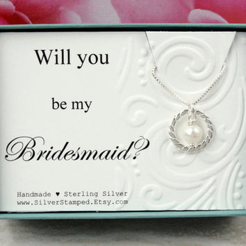 Bridesmaid proposal Will you be my Bridesmaid Gift for Bridesmaid necklace, sterling silver pearl necklace , bridesmaid invite, gift box