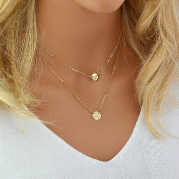 Layering Necklace Set, Disc Name Necklace, Gold Disc Necklace, Personalized Necklace Gold, Silver Rose Gold