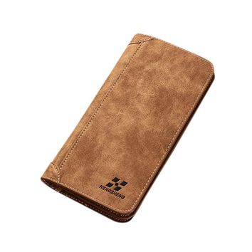 HTNBO Fashion Trends Slim Wallet Men Blocking Long Leather Wallet Card Holder Purse With Coin Pocket Carteira masculina