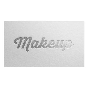 Minimal White & Silver Embossed Text Makeup Artist Business Card