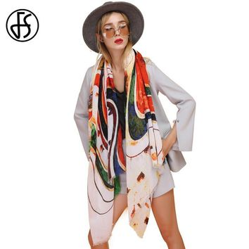 FS Echarpe Foulard Femme Bandana Cotton Head Scarf Women Scarves Shawls Pashmina For Ladies Wraps Thin Rainbow Oil Pattern Print