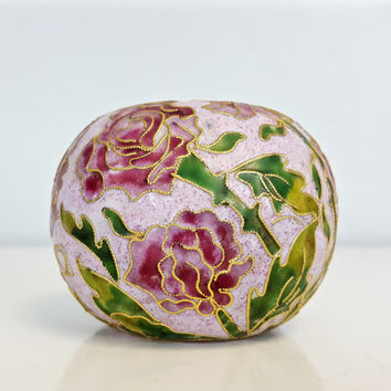 Vintage Cloisonne Brass Enamel Paperweight Pink Rose, Pink Green Flowers Paperweight, Shabby Chic Decor, Office Decor, Champleve Paperweight