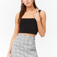 Plaid Button-Front Skirt