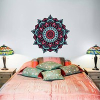 "Wall Decal Mandala Full Color Murals Ornament Geometric Colorful Patterns Yoga Namaste Vinyl Decals Stickers Bohemian Bedroom Decor EN20 (17"" Tall x 17"" Wide)"