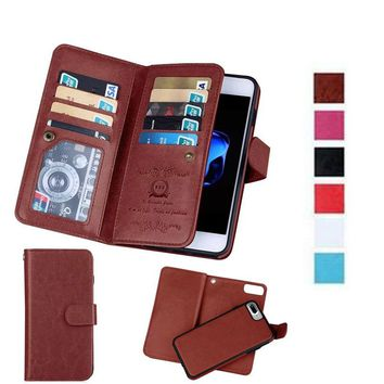 Luxury Wallet Leather Case For iPhone X 8 7 Plus 6 6S 5 5S SE Cover 2In1 Magnetic Removable Phone Cases 9 Card Slots Photo Frame