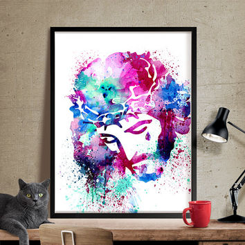 Watercolor Jesus Wall Art, Christianity Poster, jesus painting, Watercolor art, Watercolor Painting, Art Print, Home Decor, Poster  (318)