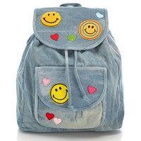 Denim Drawstring Backpack with Patches 711608556