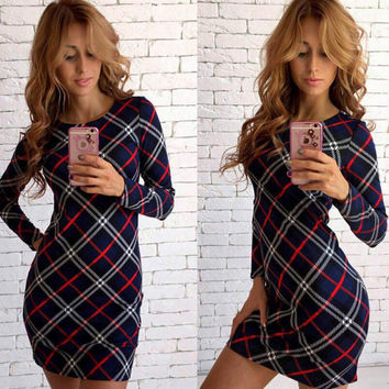 Slim Winter Stylish Fashion Plaid Print One Piece Dress [9378270212]