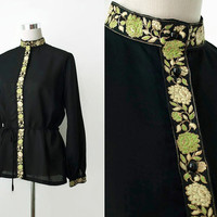 Elsie Whiteley 1960's Vintage Blouse - 60's Boho Blouse Tunic - Black Crepe Blouse With Green & Gold Brocade Detail