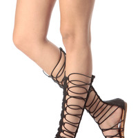 Black Faux Leather Elastic Caged Gladiator Sandal