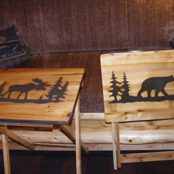 Wood TV Tray tables Moose and Bear Hand Made by BlackRiverWoodshop