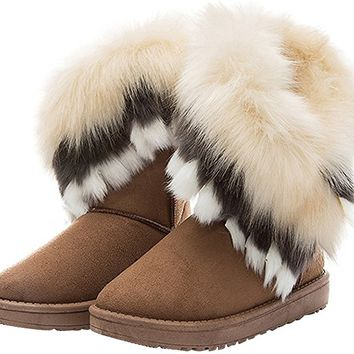 Women Mid Calf Boot Suede Faux Fur Tassel Outdoor Winter Snow Suede Flat Shoes