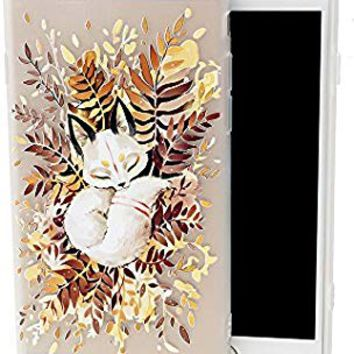 iPhone 6 6S Case, Cute Sleeping Fox Design Printed Matte Dropproof Soft TPU Thicker Protective Cover Funny Pattern Clear Skin Novelty Bumper Back Case iPhone 6 iPhone 6s,Leaves Heap Animal