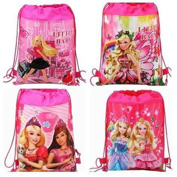 12Pcs Barbie Princess Drawstring Boys Girls Cartoon School Bag Children Printing School Backpacks Gifts for Birthday Party Bags